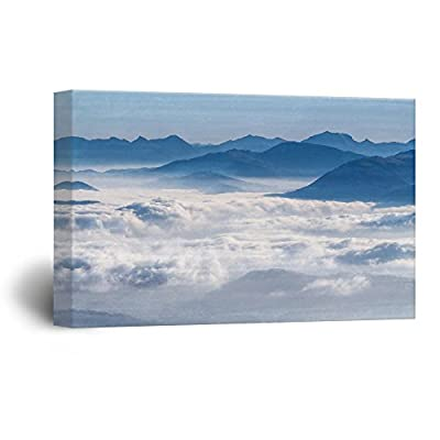 Canvas Wall Art - Landscape with Mountains and Clouds - Giclee Print Gallery Wrap Modern Home Art Ready to Hang - 16