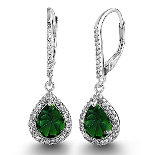 LESA MICHELE 2 Cttw Pear Shaped Simulated Emerald and CZ Teardrop Dangle Leverback Earrings for Women in Rhodium Plated 925 Sterling Silver Bridal Earring -