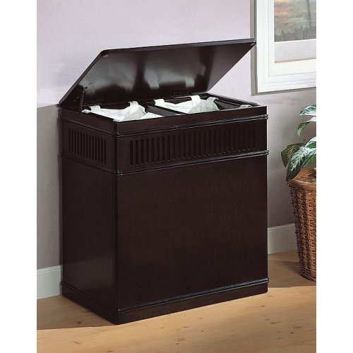 free shipping Espresso finish wood laundry basket hamper with linen pull out liner