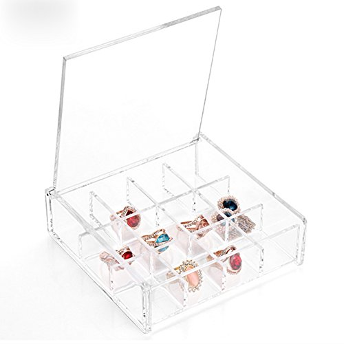 UOOOM Clear Acrylic Square Cosmetic Storage Box Jewelry Display Box 12 Grille with Lid (Style E)