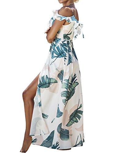 Simplee Women 's floral print V cuello correa vestido maxi Cold Shoulder Ruffle Wrap Blanco