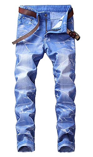 Slim Colori Dritti Pantaloni Fit Denim Da Jeans 5 In Classici Uomo Casual Lavati Vintage Himmelblau qwOOUEz