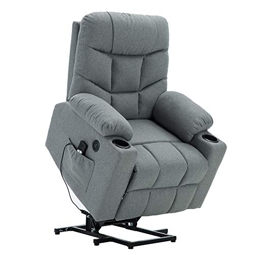 Power Lift Recliner Chair TUV Lift Motor Lounge w/Remote Control Dual USB Charging Ports Cup Holders Fabric Sofa Cloth 7286 (Light Grey)