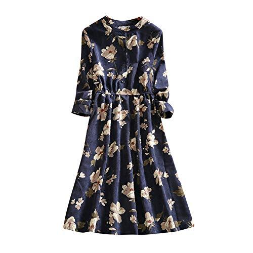 Beauty&YOP Women's Long Sleeve Loose Plain Maxi Dresses Casual Long Dresses Floral Printed Autumn 3/4 Sleeve Tunic Long Maxi Dress Beach Dresses Bohemian Printed Dresses -