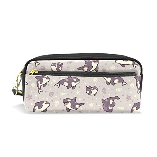 PU Leather Jelly Bean Orcas Pen Pencil Case Bag Purse Pouch