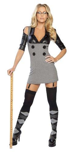 [Roma Costume 2 Piece Miss Naughty Principal Costume, Grey/Black, Small/Medium] (Miss Usa Costume)