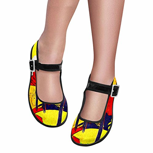 InterestPrint Women's Comfort Mary Jane Flats Casual Walking Shoes Africa Retro Vintage Style US7 by InterestPrint