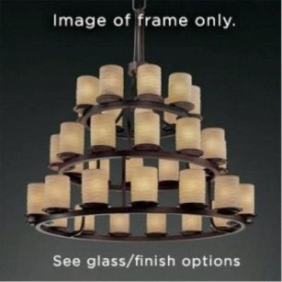 Justice Design Group WGL-8712-10-SWOP-MBLK Wire Glass Collection Dakota 36-Light 3-Tier Ring Chandelier - Dakota Collection Chandelier Light Fixture