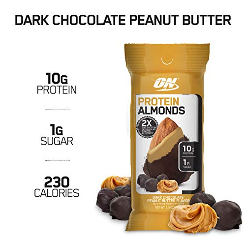 Optimum Nutrition Protein Almonds Snacks, On The Go Nutrition, Flavor: Chocolate Peanut Butter, Low Sugar, Made with Whey Protein Isolate, 12 Count
