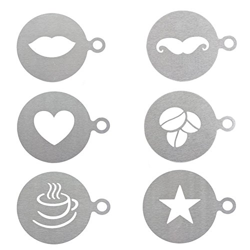 ROOS 6 Kinds of Patterns Set Stainless Steel Latte Coffee Stencil Cappuccino Foam Craft Decorate