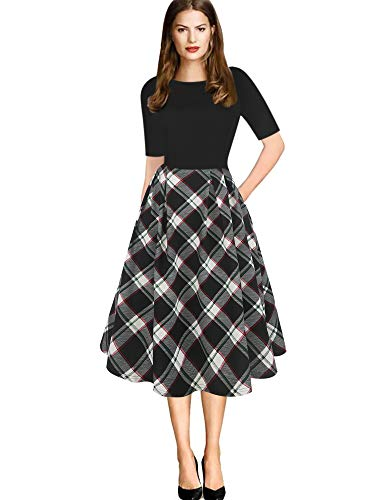 oxiuly Women's Vintage Plaid Patchwork Pockets Puffy Swing Casual Party Work Dress OX165 (L, BK-MuPd)