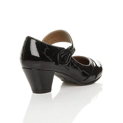 Ajvani - Zapatos de vestir para mujer negro (black patent)
