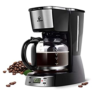 Coffee Maker- Posame Programmable Coffee Machine with 1.6QT Glass Carafe,12 Cup Drip Coffee Brewer, Auto Shut-off, LED Digital Screen, Removable Mesh Filter Basket, Black/Stainless Steel