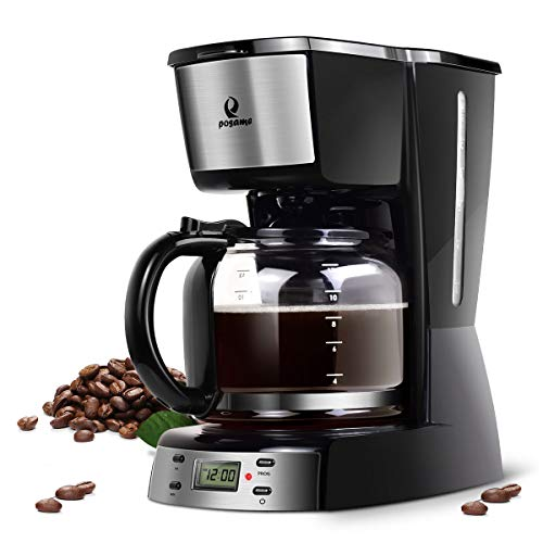 Coffee Maker- Posame Programmable Coffee Machine with 1.6QT Glass Carafe,12 Cup Drip Coffee Brewer, Auto Shut-off, LED…