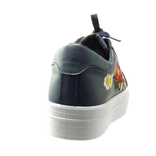 Angkorly Scarpe da Moda Sneaker bi-Materiale Zeppe Donna Fiori Ricamo Lucide Tacco Zeppa Piattaforma 4 cm - Blu