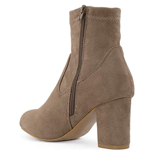Boots Side Bootie Sock Stretchy Women's Wrapped ROOM FASHION Taupe Suede Heel Ankle Slip Soft Zipper Chunky RF OF On Faux wq6POxa