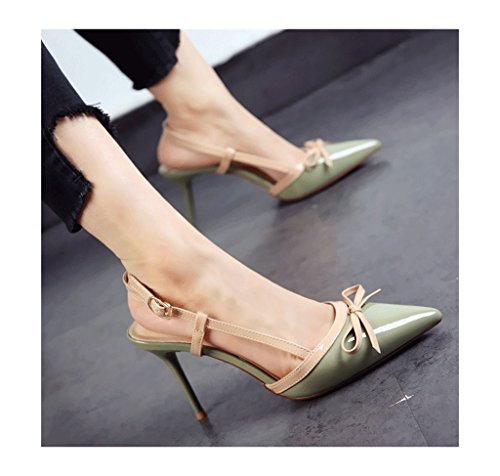 36 Elegant Size Heel Shoes Ladies Heels Stiletto Leather Color Feminine Dream Pointed High Vintage Toe Green Sweet aqdw4p4