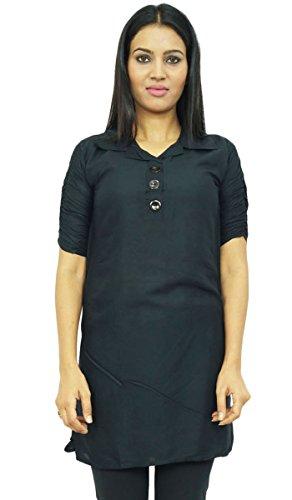India étnicas Kurti patrón sólido verano mujeres del desgaste Rayón Ropa de manga corta Negro-1