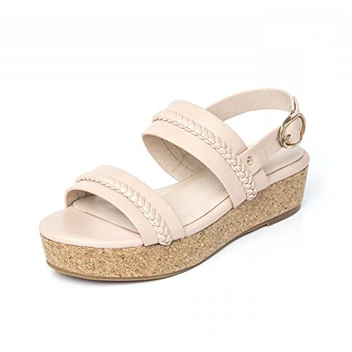 Chic Feet Ladies New Summer Strappy Low Flatform Wedge Sandals in Black, White Or Pink Pink