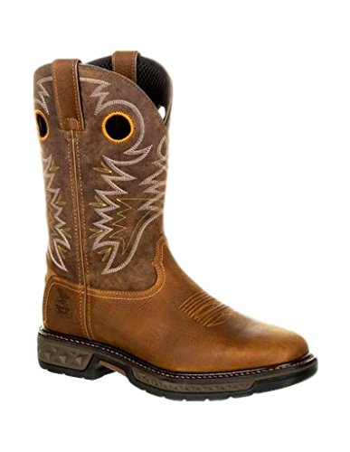 Georgia Boot Work Mens Square Carbo-Tec Rubber 9.5 M Brown - Georgia Square