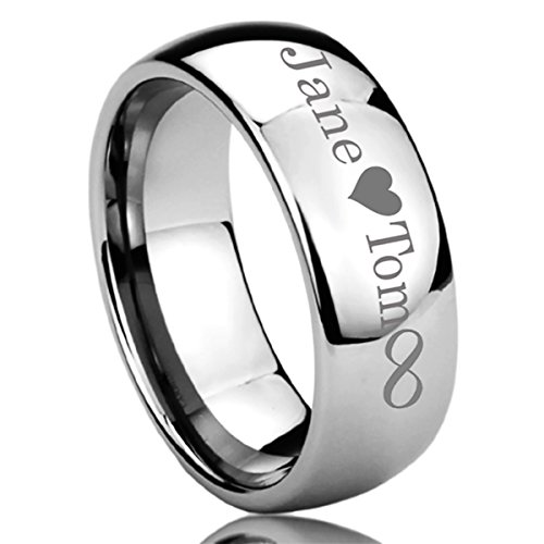 Personalized Wedding Rings (Prime Pristine Personalized Outside Inside Engraving Titanium Wedding Band Ring 8mm Polished Domed)