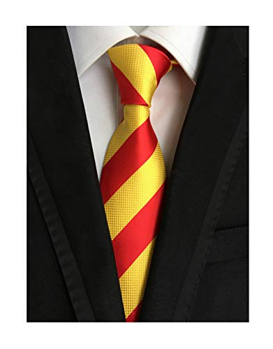 Tie Mens Silk Scarf - Secdtie Men's Red Yellow Striped Jacquard Woven Silk Tie Formal Necktie LUD31