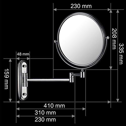 JIUCHANPIN Espejo extensible de aumento,Pared de baño giratorio espejo Plegable espejo Espejo telescópico Magnificado...