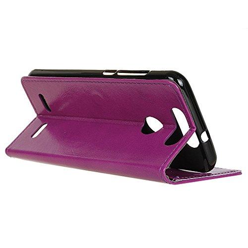 Lusee® PU Caso de cuero sintético Funda para ZTE Blade V8 lite 5.0 Pulgada Cubierta con funda de silicona botón caballo Loco patrón azul caballo Loco patrón púrpura