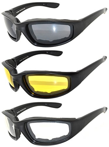 3 Pairs Black Motorcycle Padded Foam Glasses - Smoke, Yellow, Clear Lenses - 3 Pair Sunglasses