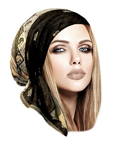 ShariRose Boho Chic Black Pre-Tied Headscarf Cool Knit Pashmina Ethnic Print Collection (Black Beige ()