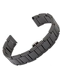 Ceramic Bracelet Watchband Watchstrap Push Button Deployment Clasp 20mm Black