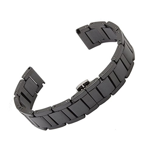 RECHERE Ceramic Bracelet Watchband Watchstrap Push Button Deployment Clasp 16mm Black
