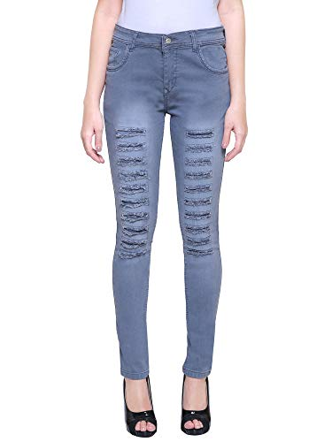HOVAC 1 Buttons Slim Fit Stretchable Denim Rough Jeans for Girl's and Women's (Damz Grey)