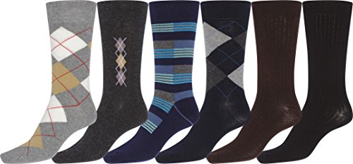 Sakkas 157 Mens Cotton Blend Ribbed Dress Socks Value 6-Pack - 10-13 from Sakkas