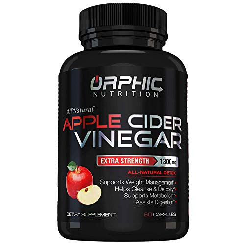 Extra Strength 1300mg Apple Cider Vinegar Capsules | Detox Pills | Prevent Bloating, Non-Stimulating | Detox, Cleanse, Manage Weight & Improve Digestion | Men & Women | Pack of 60 (Apple Cider Vinegar Diet And Garcinia Cambogia)