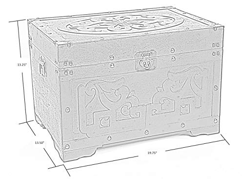 Vintiquewise QI003426.L Wood with Fretwork Detail Vintage Trunk, Rustic Cherry