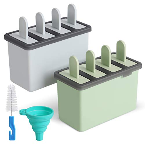 Cream Popsicle Ice - Kootek Popsicle Molds Sets 8 Ice Pop Makers Reusable Ice Cream Mold - Dishwasher Safe, Durable DIY Popsicles Tray Holders with Silicone Funnel, Cleaning Brush Kitchen Supplies(Blue and Green)
