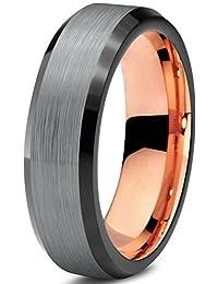 Tungsten Wedding Band Ring 6mm for Men Women Black & 18K Rose Gold Beveled Edge Brushed Polished Lifetime Guarantee