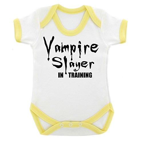 [Funny Vampire Slayer in Training Baby Bodysuit with Yellow Trim and Black Print] (Vampire Suit)