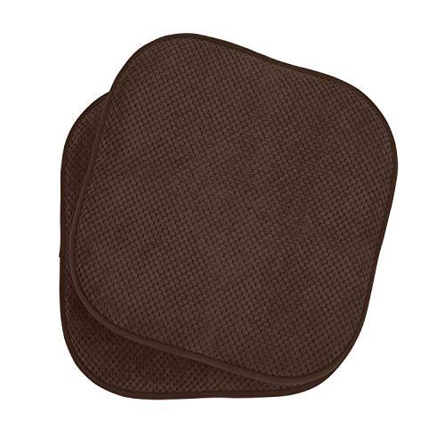 GoodGram 2 Pack Non Slip Ultra Soft Chenille Premium Comfort Memory Foam Chair Pads/Cushions - Assorted Colors (Brown)
