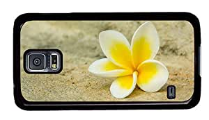 Hipster Samsung Galaxy S5 Case poetic cover white yellow plumeria PC Black for Samsung S5