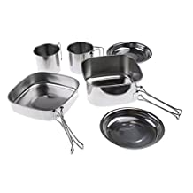 Dovewill Stainless Steel Outdoor Picnic Pot Pan Set Folding Handle Camping Hiking Backpacking Cooking Cookware for 1-2 Person