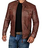 Mens Johnson Lambskin Biker Real Leather Jacket - Premium Quality Brown Jacket | Brown, M