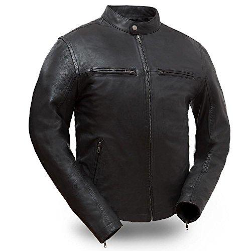 (First Mfg Co Men's Hipster Leather Jacket (Black, Medium))