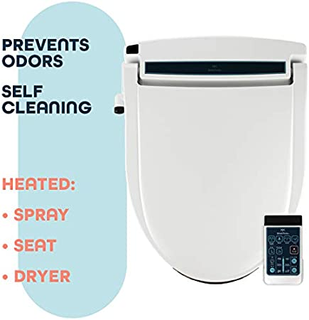 and Heated Dryer Fits Elongated Toilets Adjustable and Self-Cleaning Side Panel Remote BidetMate BM-2000P-E Series Electric Bidet Heated Smart Toilet Seat with Unlimited Heated Water Deodorizer
