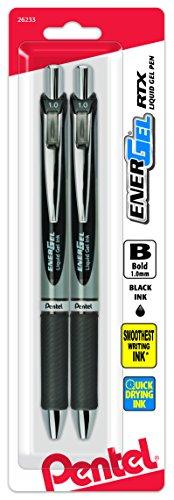 Pentel Energel Rtx Retractable Liquid Gel Pen, Bold Line, Metal Tip, Black Ink Pack of 2 (BL80BP2A)