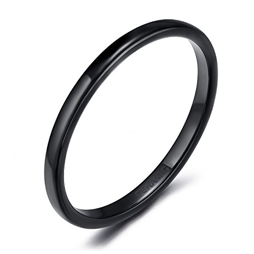 SOMEN TUNGSTEN 2mm Thin Ceramic Ring Wedding Band Black High Polish Comfort Fit Size 6.5