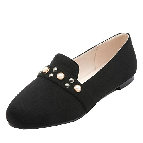 SJJH Flats with 4-Colors and Large Size from 0-13 UK Available Comfortable Flats for Ladies Black jNdwZEagVr