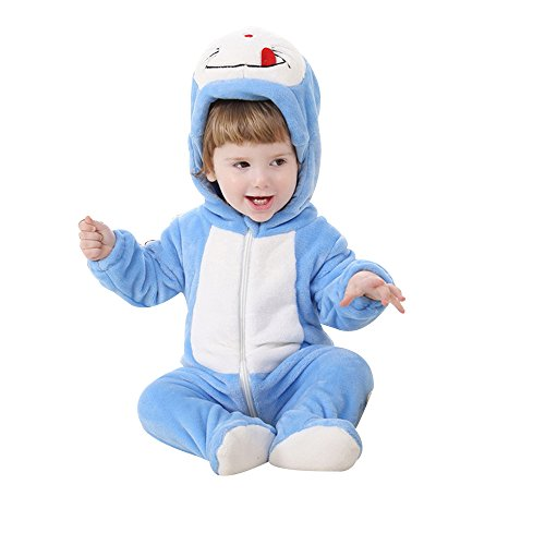 King's Baby Cartoon Costume Infant Flannel Hooded Romper Jumpsuit Baby Christmas Animal Cosplay (Dinky Dragon Infant Toddler Costume)