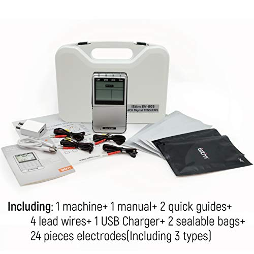 iSTIM EV-805 TENS EMS 4 Channel Rechargeable Combo Machine Unit - Muscle Stimulator + Back Pain Relief and Management- 24 Programs/Backlit (Including Electrodes Pads) by iSTIM (Image #4)